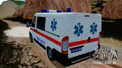 Fiat Ducato Serbian Ambulance para GTA San Andreas esquerda vista