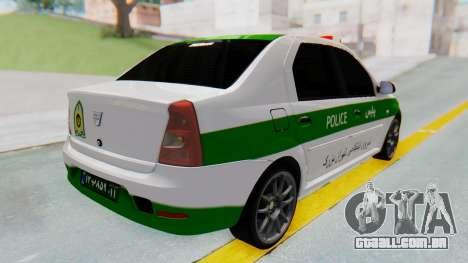 Dacia Logan Iranian Police Naja para GTA San Andreas traseira esquerda vista
