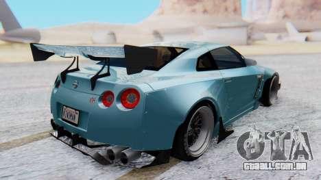 Nissan GT-R R35 Rocket Bunny v2 para GTA San Andreas traseira esquerda vista