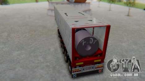 Trailer Colis Red para GTA San Andreas traseira esquerda vista