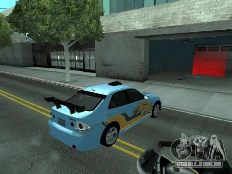 Toyota Altezza Tunable para GTA San Andreas vista superior