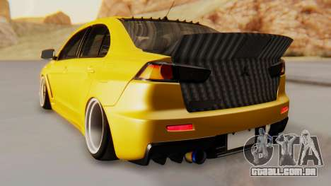 Mitsubishi Lancer Evolution X Stance para GTA San Andreas traseira esquerda vista