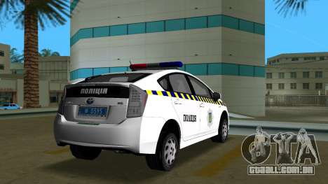 Toyota Prius Polícia Da Ucrânia para GTA Vice City vista traseira esquerda