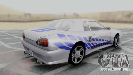 Elegy 2F2F Skyline PJ para GTA San Andreas esquerda vista