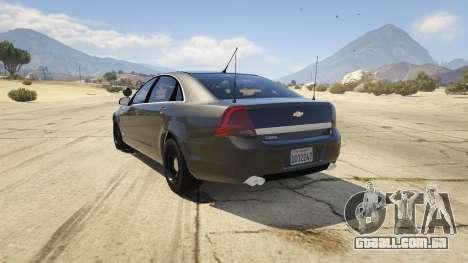 GTA 5 Unmarked Chevrolet Caprice traseira vista lateral esquerda