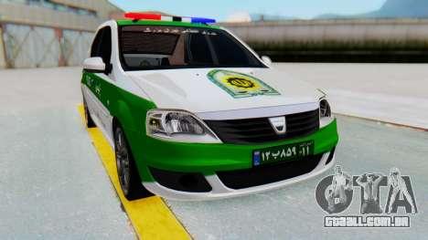 Dacia Logan Iranian Police Naja para GTA San Andreas vista direita