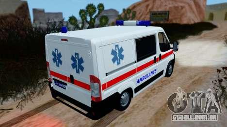 Fiat Ducato Serbian Ambulance para GTA San Andreas traseira esquerda vista