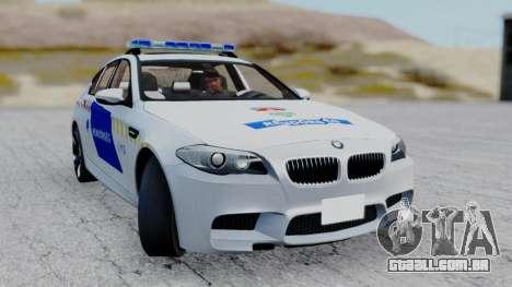 BMW M5 F10 Hungarian Police Car para GTA San Andreas vista traseira