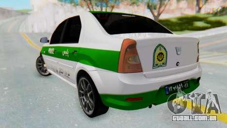 Dacia Logan Iranian Police Naja para GTA San Andreas esquerda vista
