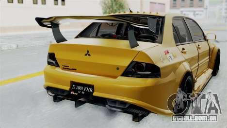 Mitsubishi Lancer Evolution IX MR Edition para GTA San Andreas vista traseira