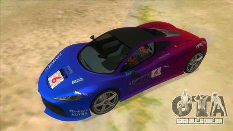 GTA 5 Progen T20 Lights version para GTA San Andreas vista superior