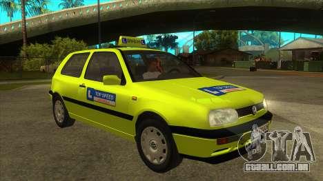 VW Golf Mk3 Top Speed Auto Skola para GTA San Andreas vista traseira