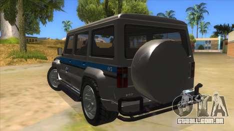 Benefactor Dubsta Jurassic World Security para GTA San Andreas traseira esquerda vista
