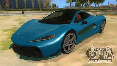GTA 5 Progen T20 Styled version para GTA San Andreas vista interior