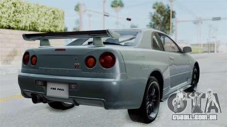 Nissan Skyline GT-R R34 2002 F&F4 para GTA San Andreas traseira esquerda vista