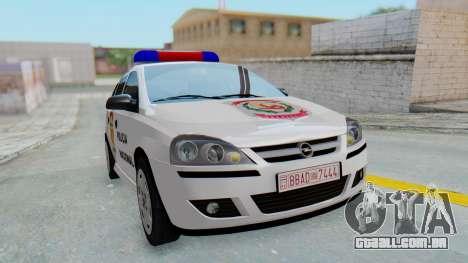 Opel Corsa C Policia para GTA San Andreas vista direita