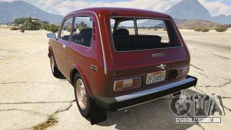 GTA 5 VAZ-2121 Lada Niva traseira vista lateral esquerda