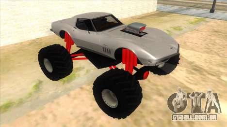 1968 Chevrolet Corvette Stingray Monster Truck para GTA San Andreas vista traseira
