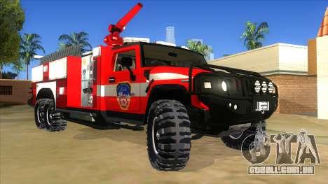 HUMMER H2 Firetruck para GTA San Andreas vista traseira