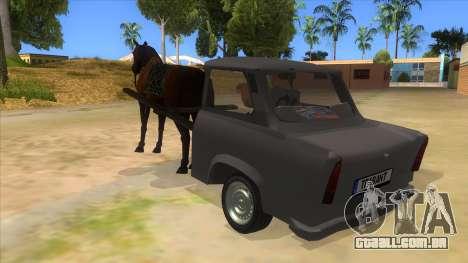 Trabant with Horse para GTA San Andreas traseira esquerda vista