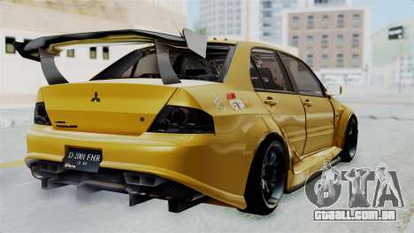 Mitsubishi Lancer Evolution IX MR Edition para GTA San Andreas esquerda vista