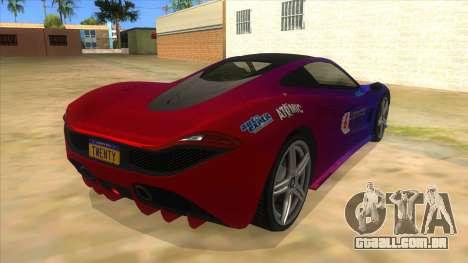 GTA 5 Progen T20 Styled version para GTA San Andreas vista direita