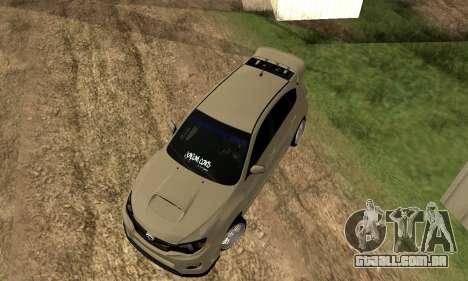 Subaru Impreza WRX STI 2008 LPcars v.1.0 para GTA San Andreas vista traseira