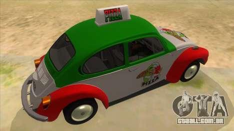 Volkswagen Beetle Pizza para GTA San Andreas vista direita