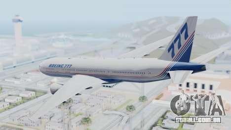 Boeing 777-200 Prototype para GTA San Andreas vista direita