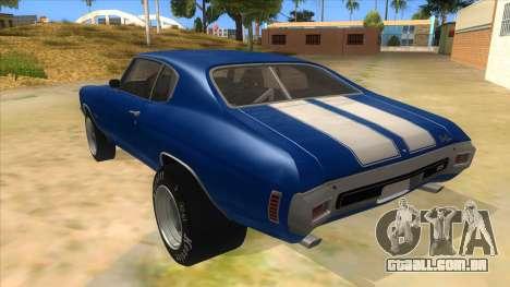 1970 Chevrolet Chevelle SS Drag para GTA San Andreas traseira esquerda vista