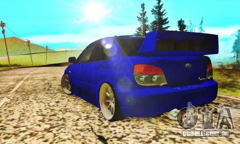 Subaru Impreza WRX STI Lisa para GTA San Andreas vista direita