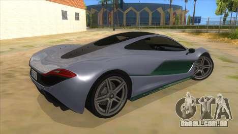 GTA 5 Progen T20 Lights version para GTA San Andreas vista direita