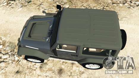 GTA 5 Jeep Wrangler 2012 v1.1 voltar vista