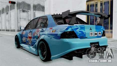Mitsubishi Lancer Evolution IX MR Edition v2 para GTA San Andreas esquerda vista
