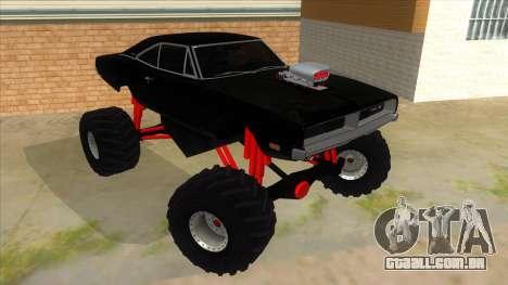 1969 Dodge Charger Monster Truck para GTA San Andreas vista traseira