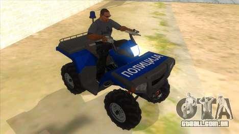 ATV Polaris Police para GTA San Andreas vista traseira