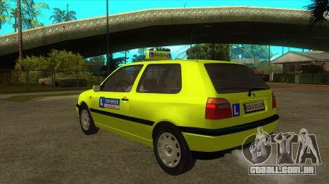 VW Golf Mk3 Top Speed Auto Skola para GTA San Andreas traseira esquerda vista