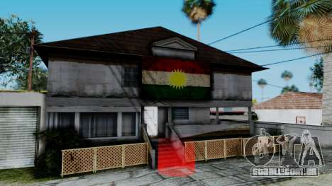 New CJ House with Kurdish Flag para GTA San Andreas segunda tela
