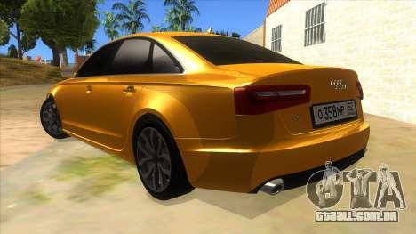 Audi A6 2012 para GTA San Andreas traseira esquerda vista