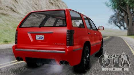 GTA 5 Albany Cavalcade v2 para GTA San Andreas esquerda vista