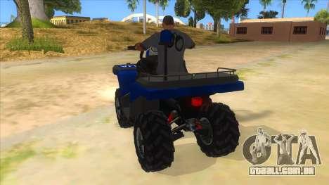 ATV Polaris Police para GTA San Andreas traseira esquerda vista