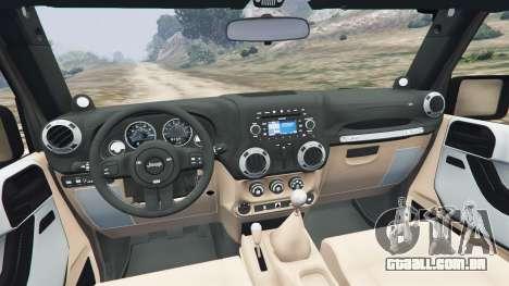 GTA 5 Jeep Wrangler 2012 v1.1 traseira direita vista lateral