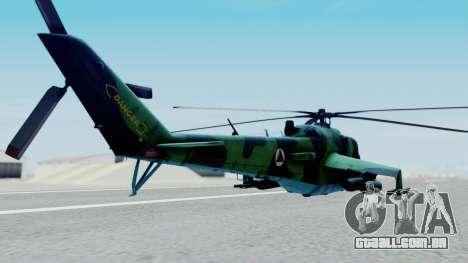 Mi-24V Afghan Air Force 112 para GTA San Andreas esquerda vista