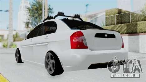 Hyundai Accent Essential Garage para GTA San Andreas esquerda vista
