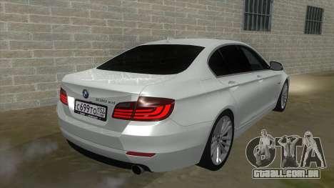 BMW 530XD F10 para GTA San Andreas vista traseira