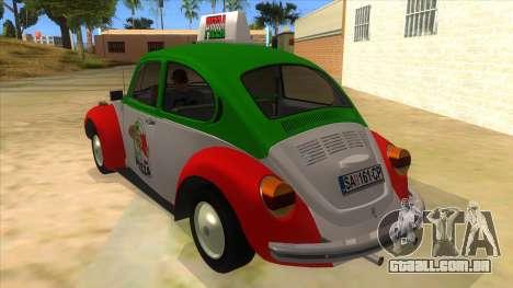Volkswagen Beetle Pizza para GTA San Andreas traseira esquerda vista