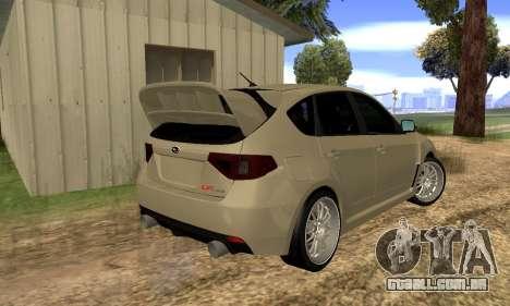 Subaru Impreza WRX STI 2008 LPcars v.1.0 para GTA San Andreas traseira esquerda vista