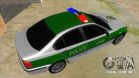 BMW Iranian Police para GTA San Andreas vista direita
