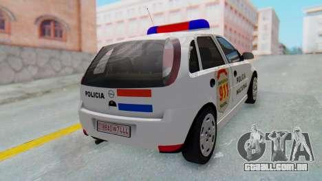Opel Corsa C Policia para GTA San Andreas traseira esquerda vista