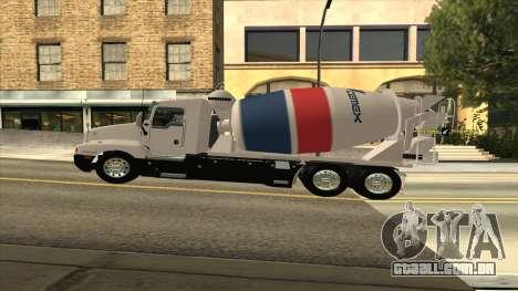 T600 Kenworth Caminhão De Cimento para GTA San Andreas traseira esquerda vista